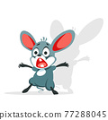 The cartoon mouse is terrified. The little rat shuddered and screamed in fright. Vector illustration of a character isolated on a white background 77288045