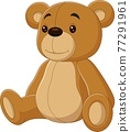 Cartoon cute teddy bear sitting isolated on white background 77291961