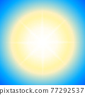Dazzling sunny sky background. Bright sunny banner sun with blurs. Jpeg illustration 77292537