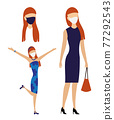 Woman in dress with bag and wearing face mask. Redhead girl portrait or avatars and two different body poses. Flat concept to prevent virus COVID-19. Jpeg 77292543