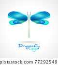 Dragonfly flat icon with soft transition colors wings. Abstract bright logo template. Vector design wildlife illustration. 77292549