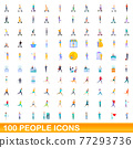 100 people icons set, cartoon style 77293736