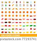 100 food icons set, cartoon style 77293741