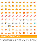 100 food icons set, cartoon style 77293742