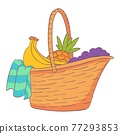 Willow picnic hamper icon, cartoon and flat style 77293853