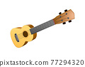 The brown ukulele guitar isolated on the white background 77294320