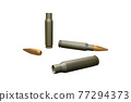 Bullets and cartridges on white background in the style of 3D illustration 77294373