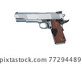 Black pistol gun isolated on white background in 3d illustration style 77294489