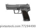 Black pistol gun isolated on white background in 3d illustration style 77294490