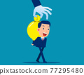 Business big idea light bulb. Invention idea into money concept 77295480