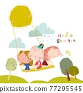Happy Children swinging swing on rays of sun 77295545