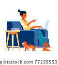 Young african american woman with laptop sitting on the armchair. Freelance or studying concept. Cute illustration in flat style 77295553