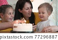 birthday. happy family on holiday party. parents and childs with baby getting ready to blow out birthday cake with candles. happy family at birthday. baby blows out the candles fun on the cake 77296887