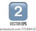 Vector shinny gradient blue keycap white digit two icon button 77298416