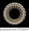 Industrial Steel Wheel Isolated On Black Background 77299047