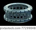 Industrial Steel Wheel Isolated On Black Background 77299048