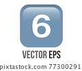 Vector shinny gradient blue keycap white digit six icon button 77300291