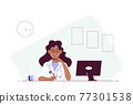 Woman doctor sitting at the table in the office. 77301538