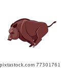 A wild boar runs and attacks. Cartoon character of an evil mammal animal. A wild forest creature with brown fur. Side view. Vector flat illustration isolated on a white background 77301761