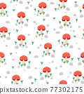 Toadstool Seamless vector repeat pattern. Mushroom fungi plants stones background. Nature texture 77302175