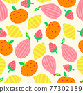 Summer Fruit seamless vector pattern. Abstract pear apple lemon strawberry repeating background cute 77302189