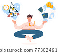 Work life balance flat concept with meditating businessman 77302491