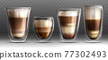 Realistic different shapes glass cups with hot coffee 77302493