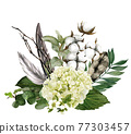 Hudrangea and feathers bouquet, hand drawn vector 77303457