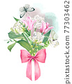 Pink and white tulips bouquet with bow 77303462