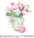 Pink and white tulips and ferns bouquet in jar 77303464