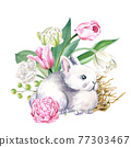 Cute gray rabbit with flowers, Hand drawn 77303467