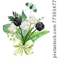 White and black tulips bouquet with green bow 77303477
