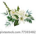 Lush bouquet composed of white flowers and greenery 77303482