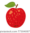 Apple red fruit, healthy organic nutrition product. Vector cartoon flat trendy illustration hand drawn isolated 77304097