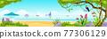 Summer beach jungle island vector landscape, toucan, exotic tree, ocean, sand, tropical flowers 77306129
