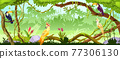 Jungle forest vector nature background, wood exotic landscape, green liana, parrot, toucan, trees 77306130