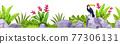 Stone seamless vector border, tropical exotic jungle rainforest rocks, toucan, banana leaves, flower 77306131
