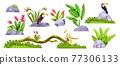 Jungle stone rocks, tropical vector set, exotic green plants, parrot, toucan, exotic flowers 77306133