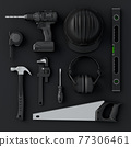 Top view of monochrome construction tools for repair and installation on black 77306461