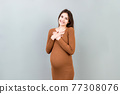 Young beautiful brunette woman pregnant expecting baby over isolated background smiling with hands on chest. Health motherhood concept 77308076