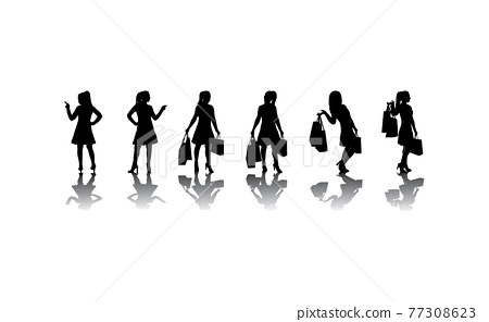 Silhouette of realistic girl with bags. Shopping concept. Happy funny woman. Vector isolated illustration. 77308623