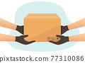 Delivery courier man with a box. Delivery of goods.   77310086