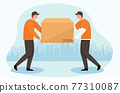Delivery courier man with a box. Delivery of goods.   77310087