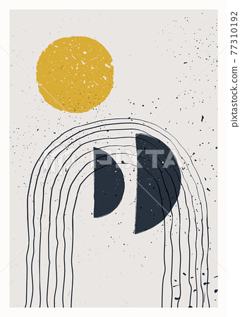 Abstract art minimalist poster. Scandinavian abstract geometric composition for wall decoration. Vector hand-painted illustration 77310192