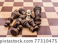 Chess board with chess pieces 77310475