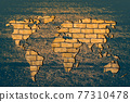 Roughly sketched out world map with brick wall fillings 77310478