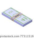 Dollar pack cash icon, isometric style 77311516