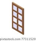 Wood window icon, isometric style 77311520