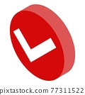 Red approved sign icon, isometric style 77311522