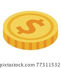 Dollar coin icon, isometric style 77311532